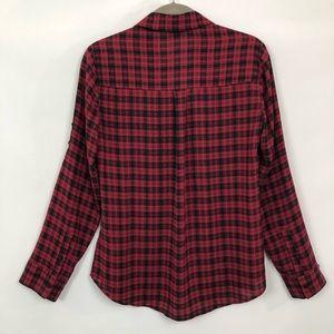 Express Tops - Express Portofino Shirt Blouse Red Plaid Slim Fit